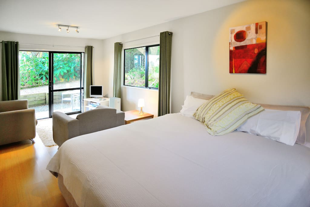 One of our bedrooms; large Kingsize Double bed, with private sitting area