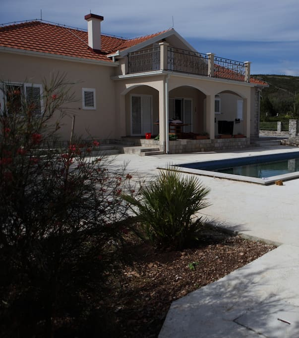 Backside of the house pool and terass