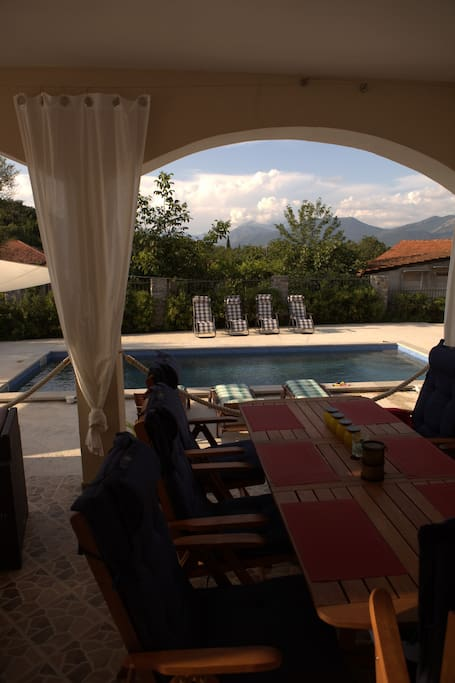 view from terass towards pool