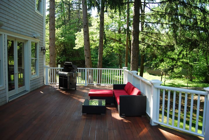 Access to deck, lounge furniture and gas Weber grill.  Pond in background.