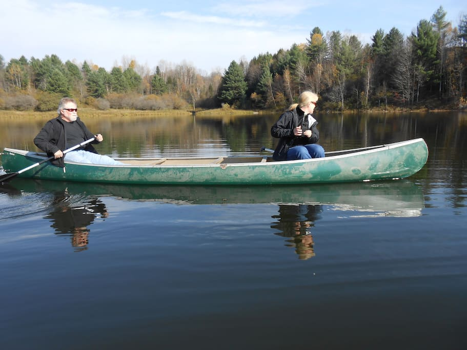 Canoeing on the Waterbury Reservoir (lake).