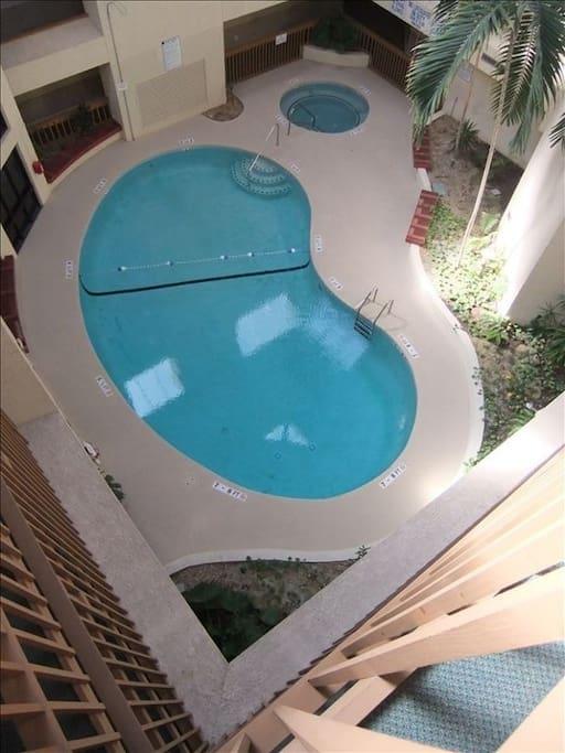 Indoor pool and Jacuzzi in beautiful Atrium.