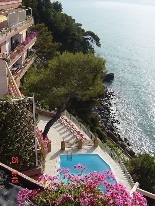 1 - View of swimming pool and sea from solarium.