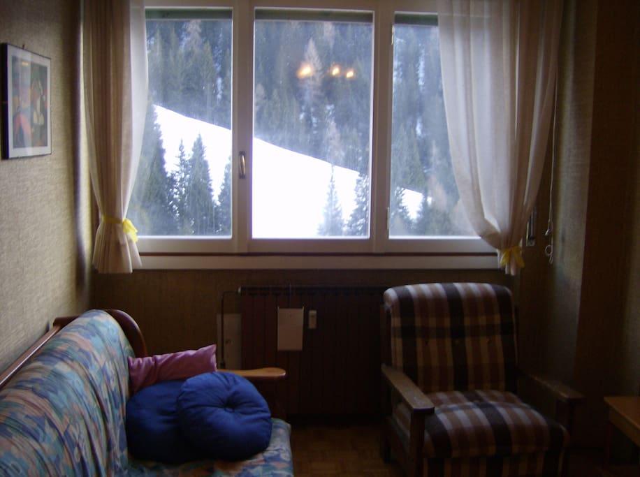 Vista dal soggiorno con montagna innevata