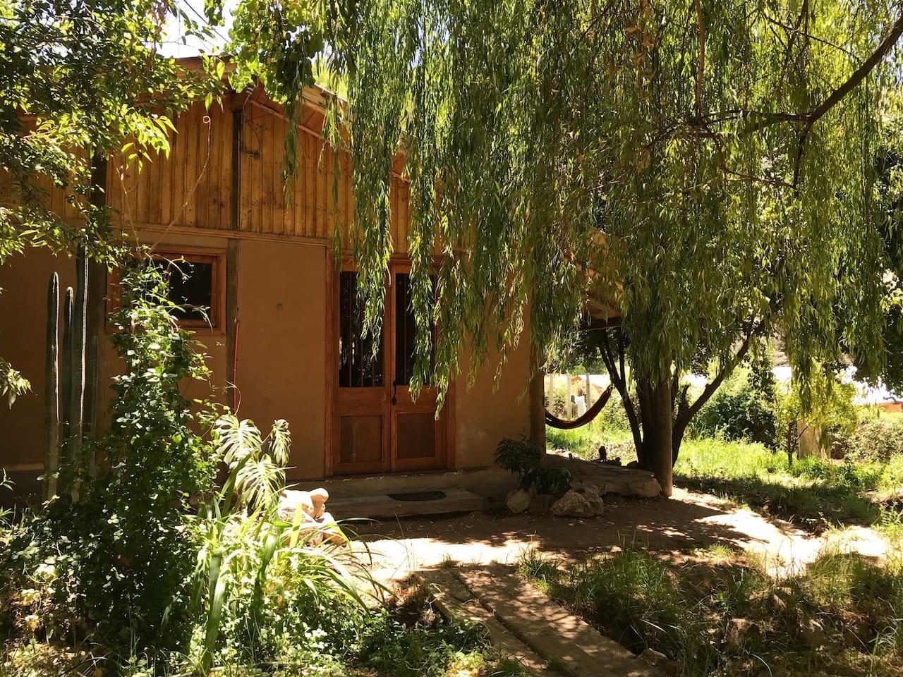La casa está a 2 cuadras de la plaza (caminando), en un pasaje muy seguro. En la entrada principal de la casa hay 1 sauce llorón, el cual da una agradable sombra en verano. Hay mucha vegetación alrededor, la cual da belleza y tranquilidad al lugar.
