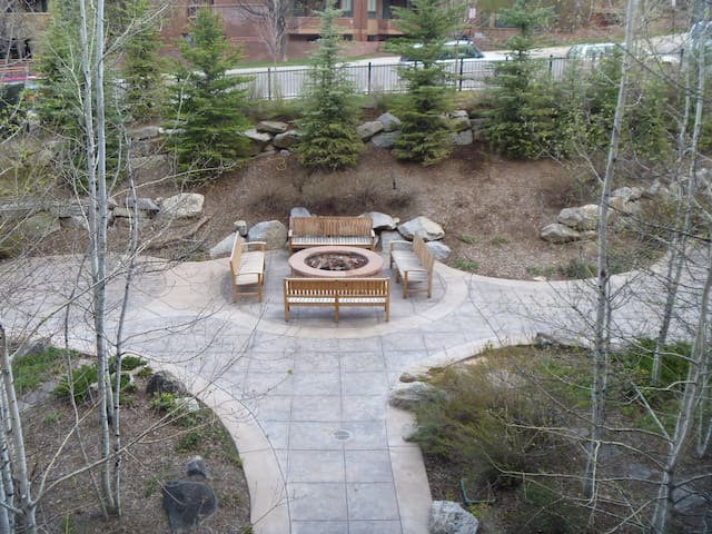 Aerial view of courtyard with fire pit for warming up and making S'mores.