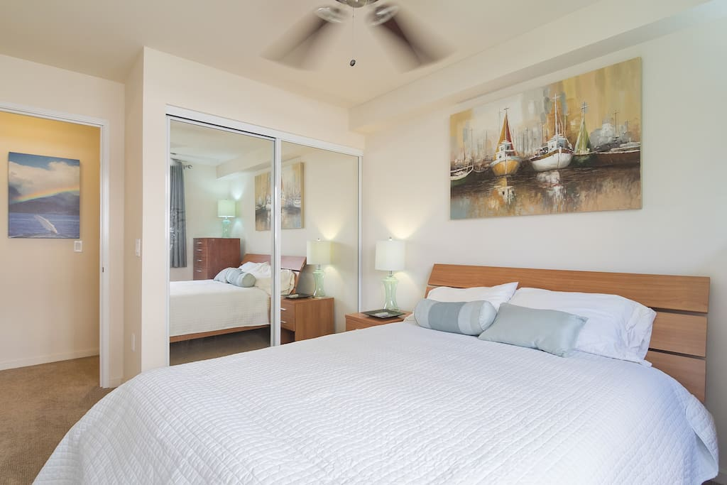 This beautiful bedroom has a queen size bed, black out curtains and AC.