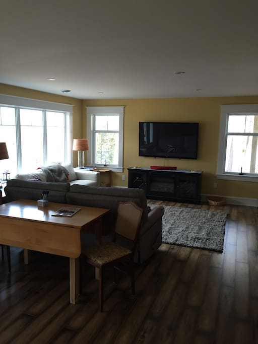 Snuggle in for a movie or enjoy the view from the living area...