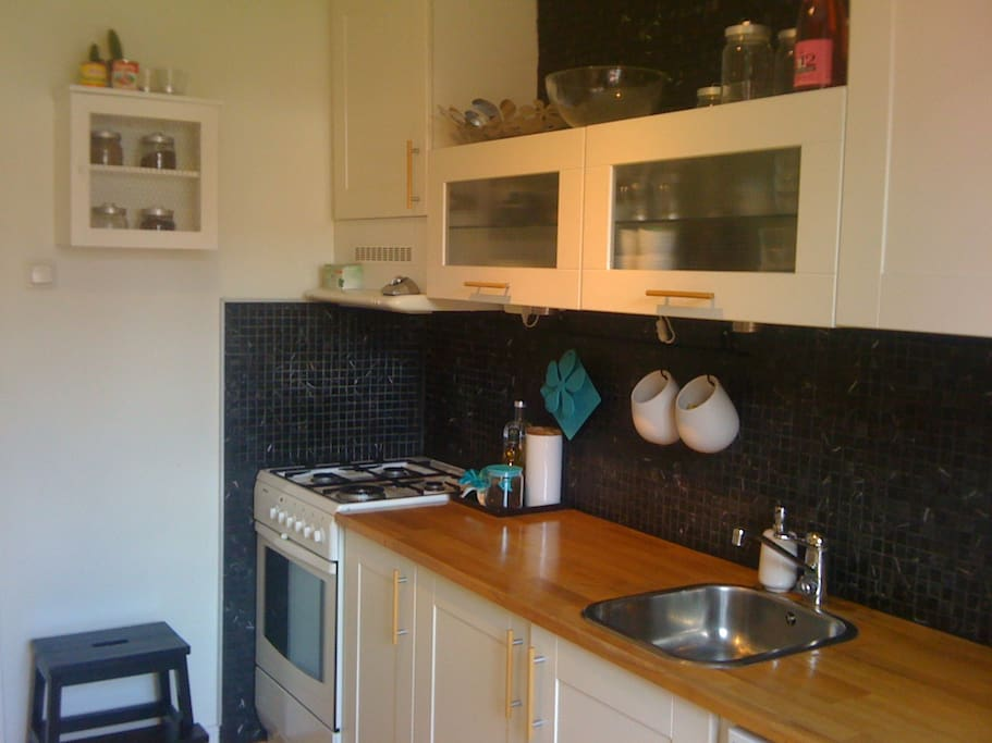 The kitchen is clean and neat and equipped with everything you need for cooking; pots, plates, cutlery, mixer etc.