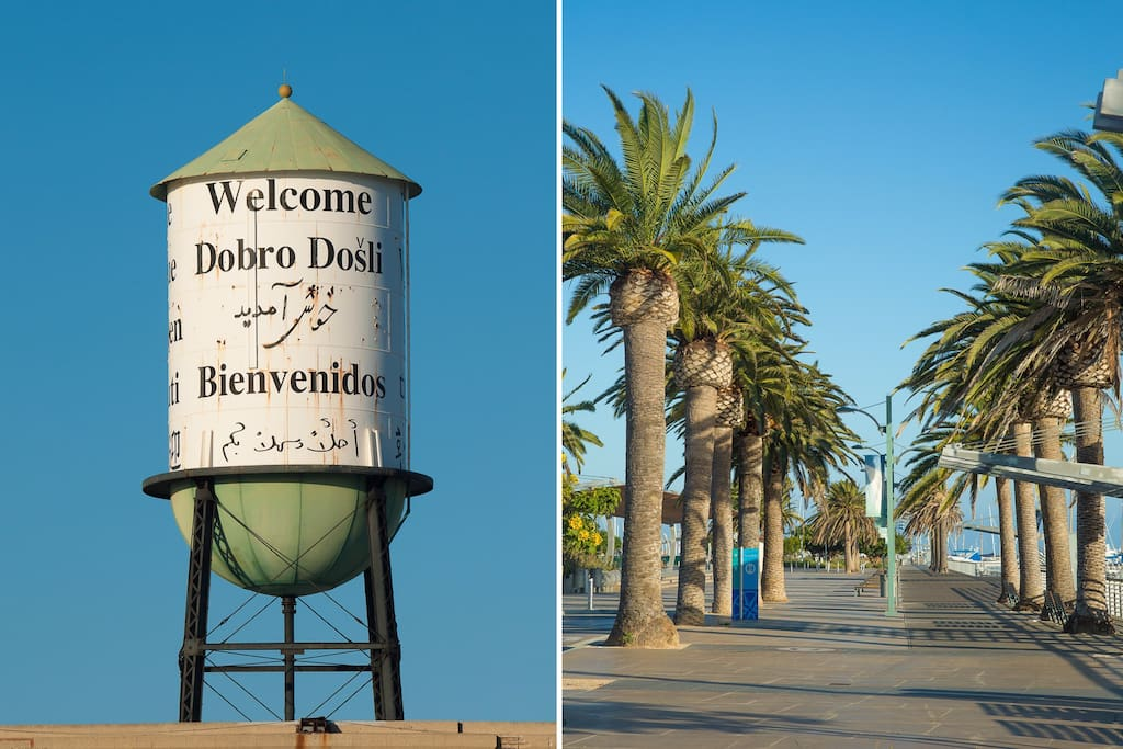 The cabrillo marina ,fantastic views ,wonderful walking trails ,and picnic areas; less than a 10 minute drive,a 15 minute bike ride, or about the same in a local bus.