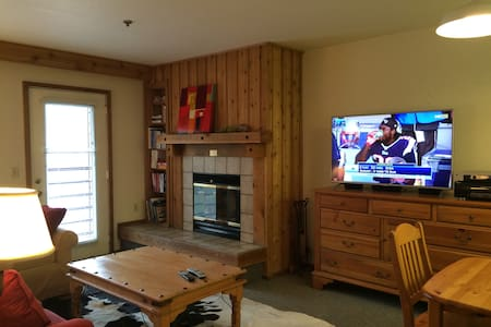 Private 1 bedroom with king bed + 2 bunks, separate living room with queen-size sleep sofa; 2 full baths each with tub and shower. Very convenient location just 350 paces from lifts & lodge. Wood-burning fireplace, full kitchen, walkout deck.   Wonderful red-rock & meadow views. Motorcycle-friendly owners.