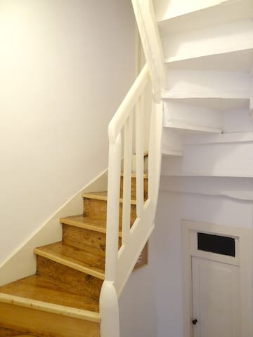 The stairs lead you to the bedroom to have great nights of sleep.