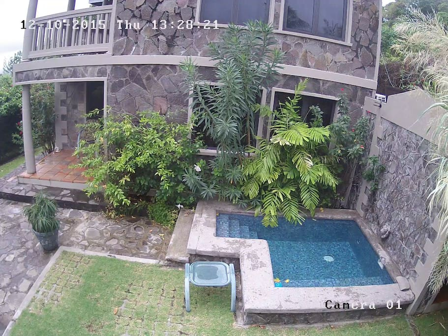 View from the Study window looking at the Cottage and plunge pool