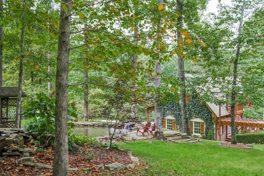 Spacious seven acre property with hiking trails, koi pond, deer and other wildlife.