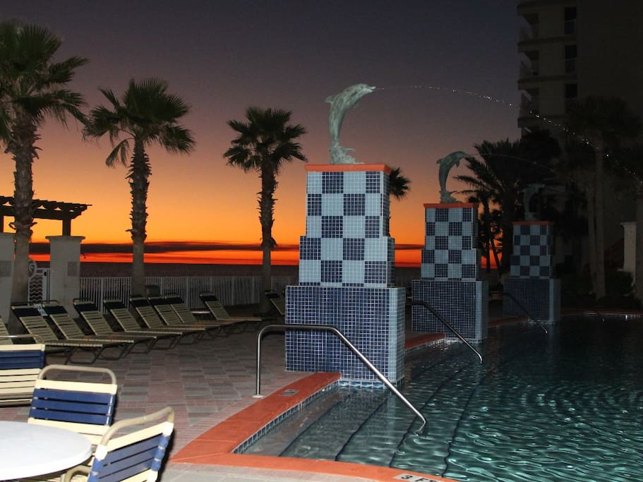 Sunset view from the pool deck bar