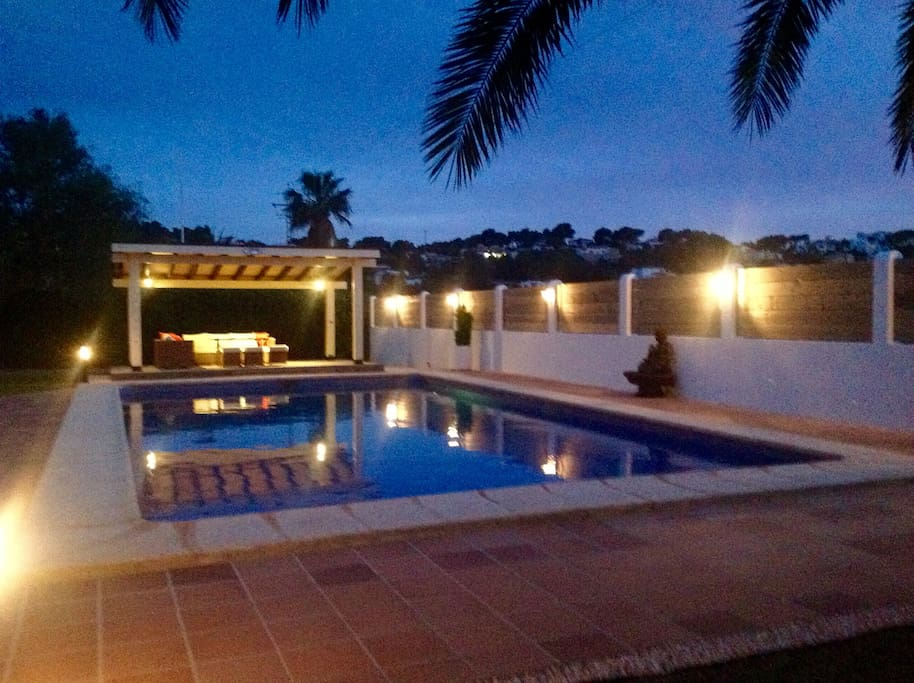 View of the pool at night