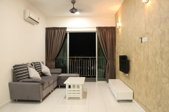 Living hall with TV, sofa set, air-condition, access to balcony