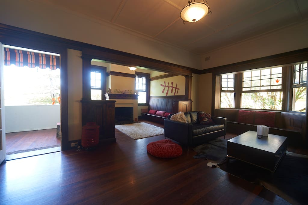 Spacious living room with  separate fire place sitting area.
