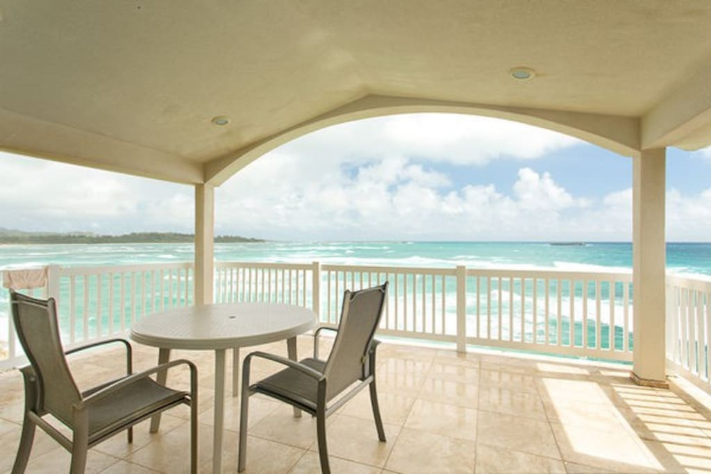 Private second floor lanai off the master bedroom.  You can look straight down into the water.