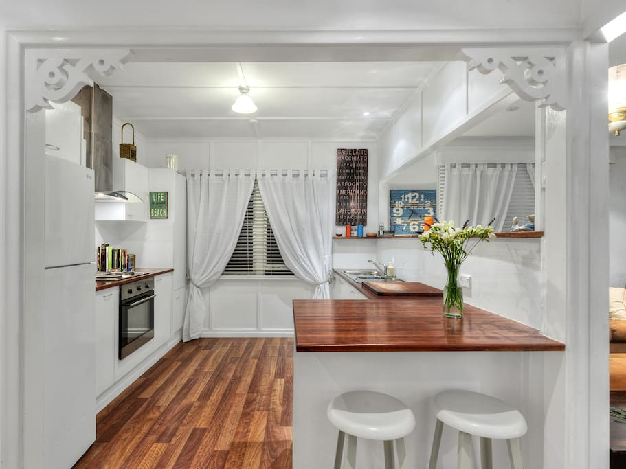 Fully renovated kitchen with pod style coffee machine.