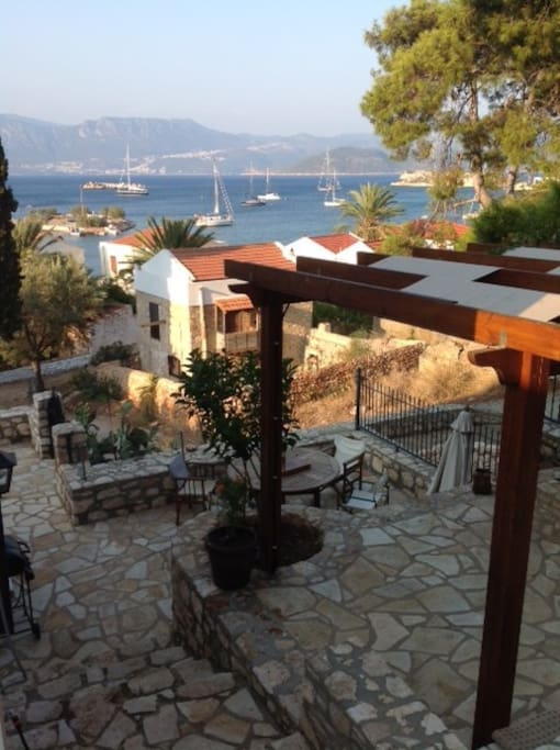 Graduated private garden and patio area with amazing views of mandraki bay