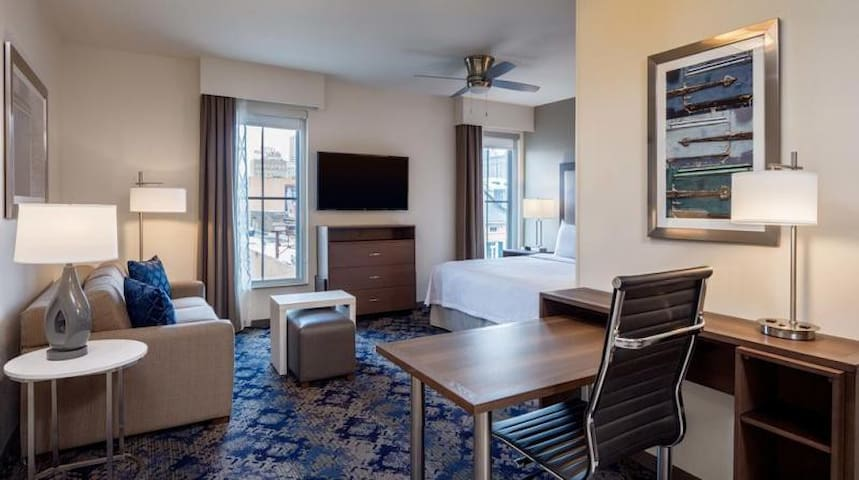 This spacious suite features comfy pullout sofa, TV, and wi-fi