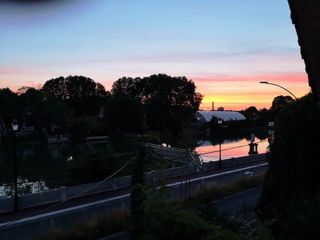 Coucher de soleil sur la Marne