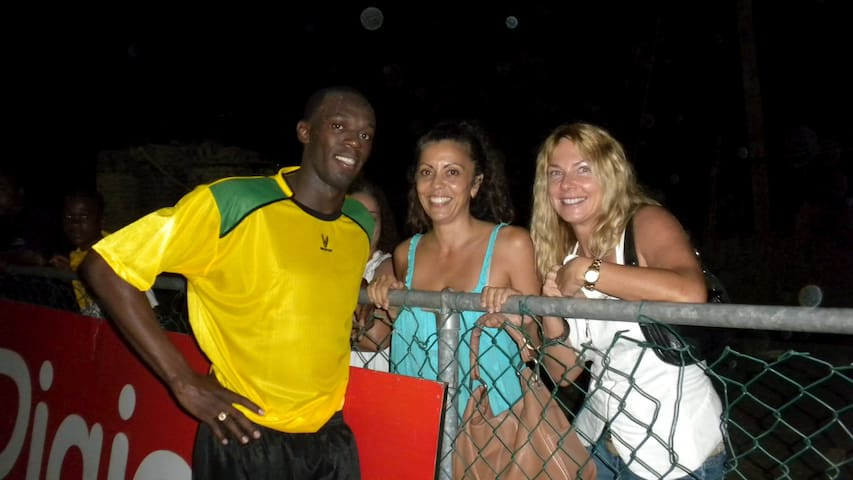 Usain Bolt and friend in Kingston