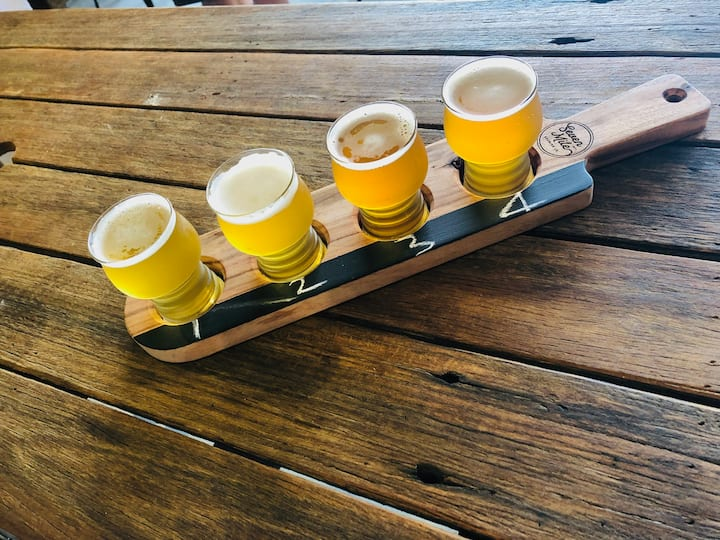 Tasting paddle at Seven Mile Brewery