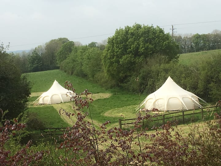 Devon Meadow Glamping for 10 in 2 BIG Lotus Belles