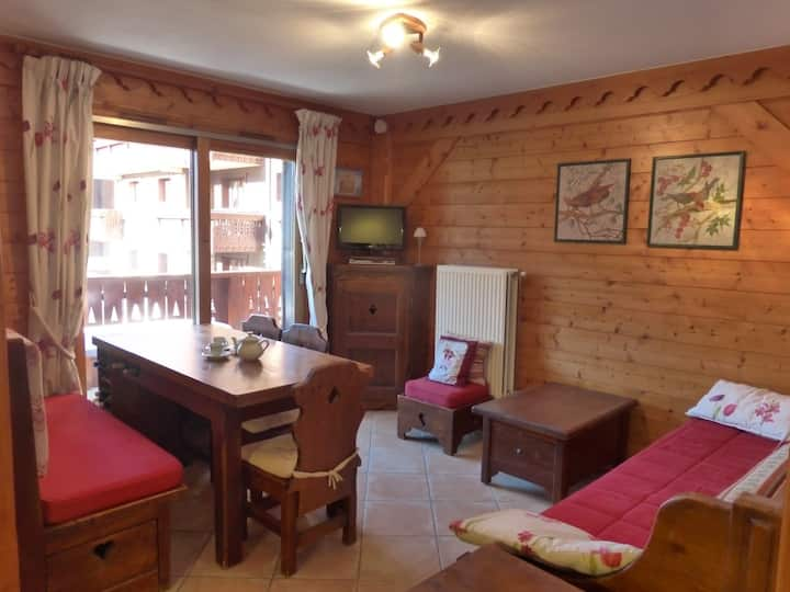 Comfortable ski in/ski-out  3 rooms apartment for 4 persons with swimming pool acces in Meribel Village
