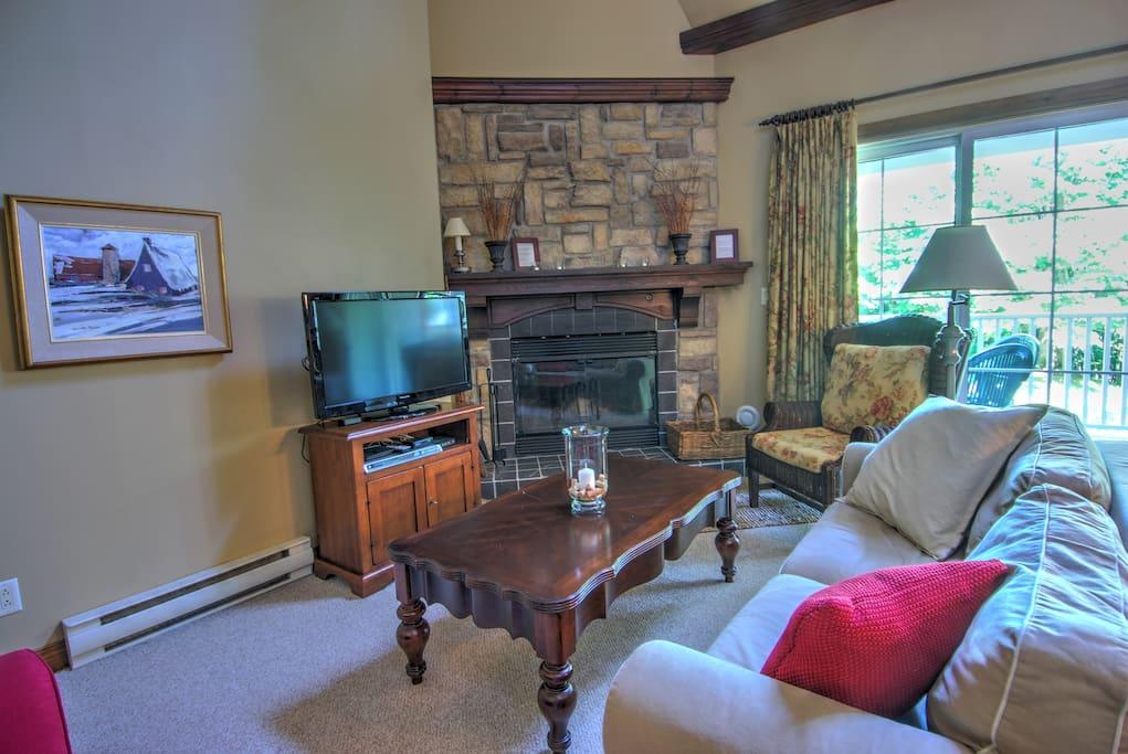 Salon et foyer Livingroom, fireplace.
