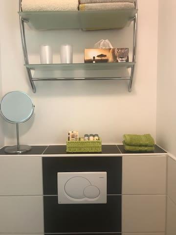 Shampoo, Duschgel, Klopapier & Handtücher für unsere Gäste