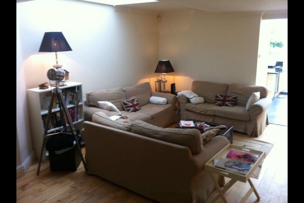 Three large comfortable sofas built the centre piece of the house and meeting place for every one.