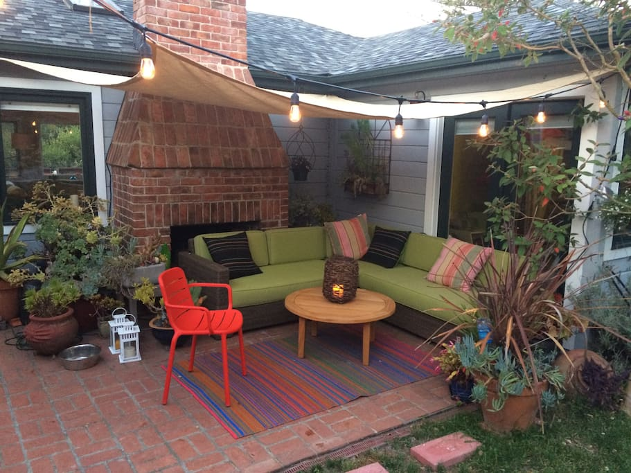 Cozy outside seating.