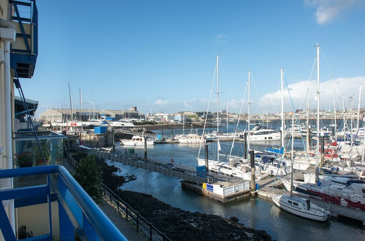 Waterside view towards Plymouth and the Barbican