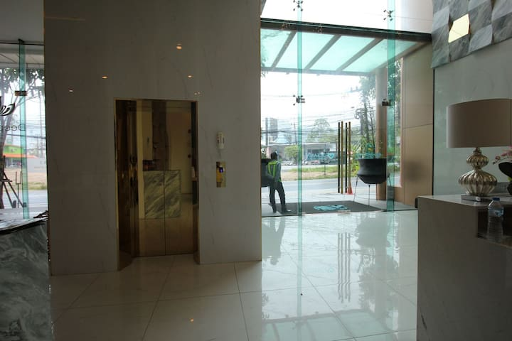 Lobby area, lift access to pool area and then walkways to Building A.