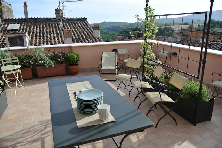 the terrace with the view over the etruscan land - Canino - House
