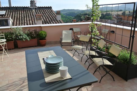 the terrace with the view over the etruscan land - Canino - Casa