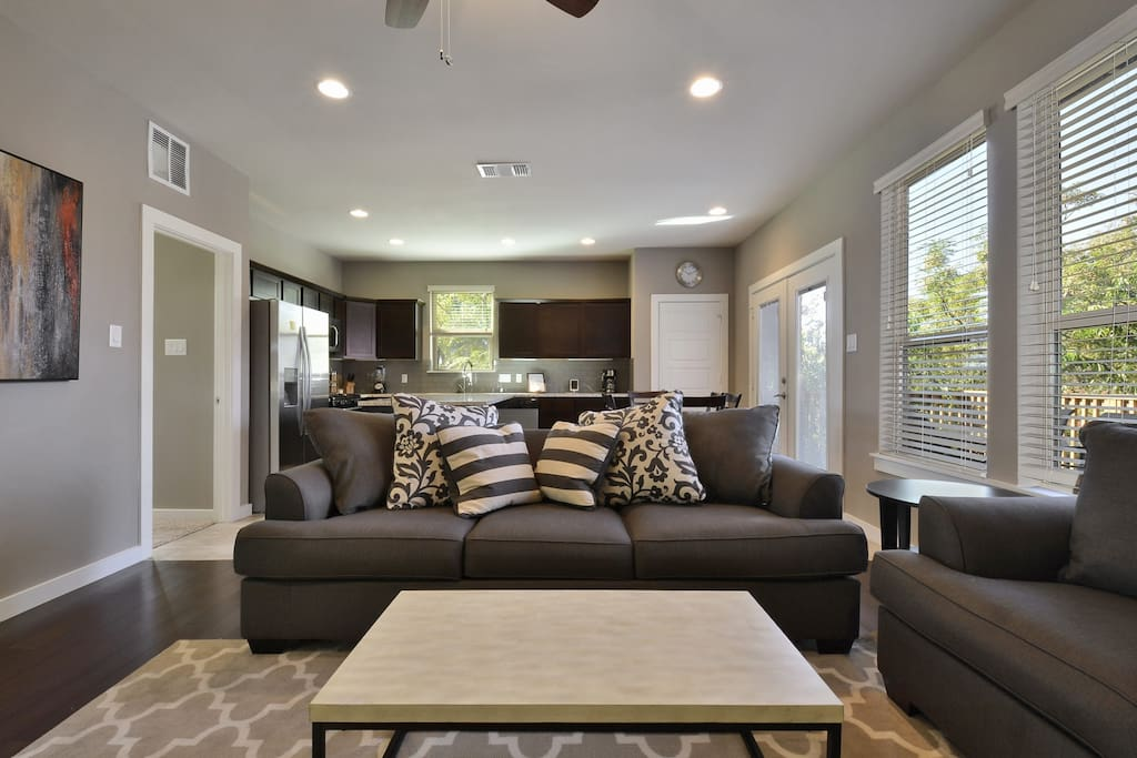 Recessed lighting in the main living areas is a nice touch.