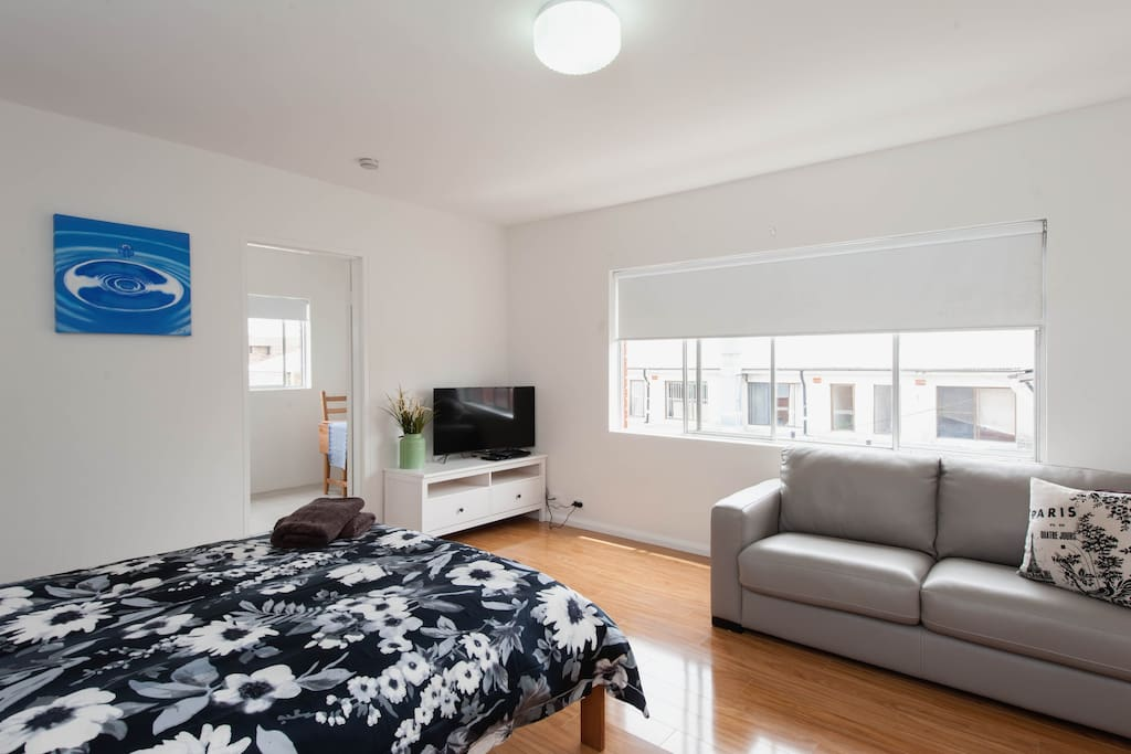 Spacious for a studio and offers bedding for up to 2 adults and 2 children