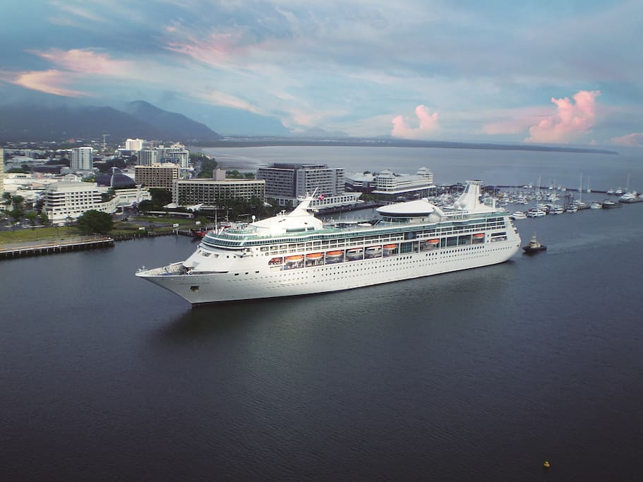 Watch cruise ships glide right by your window!