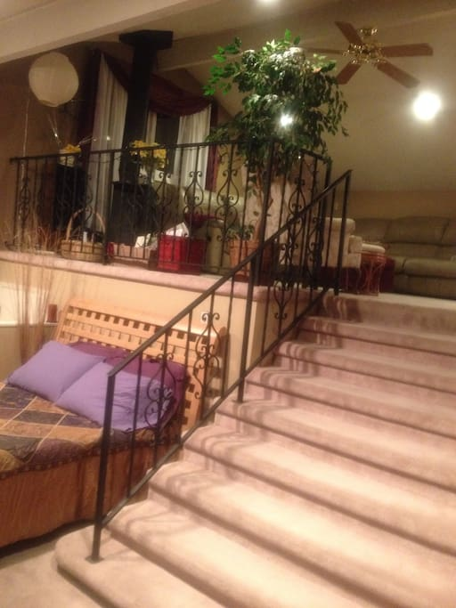 Six foot wide stairway leads to upper living area.