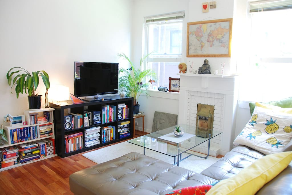 Comfortable living room with plentiful books, plants and a big TV.