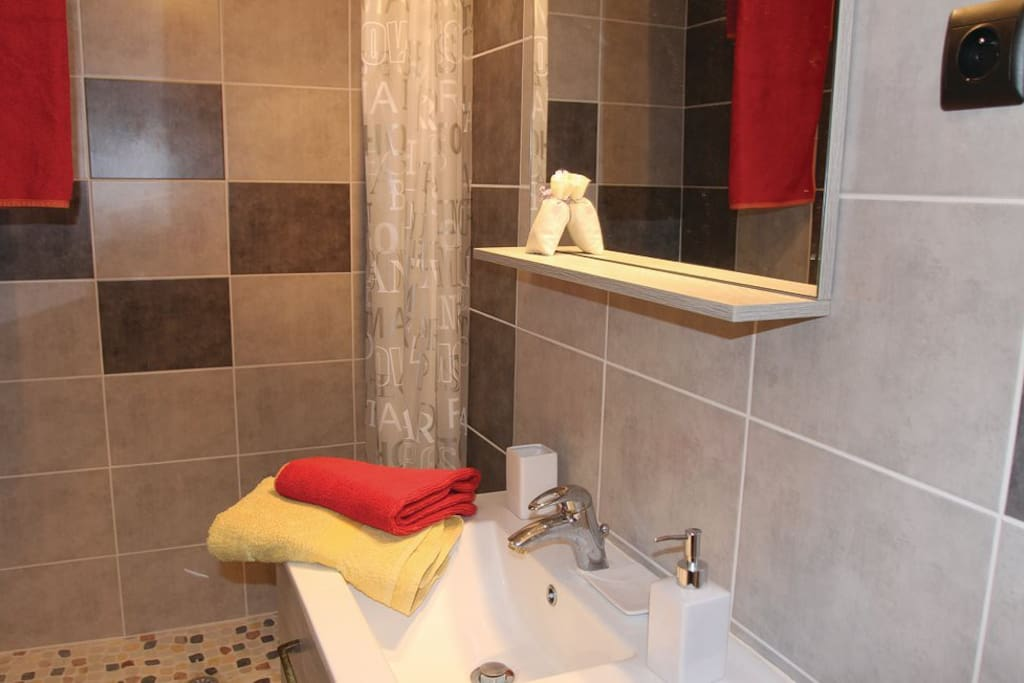Salle de douche avec toilettes dans la suite parentale