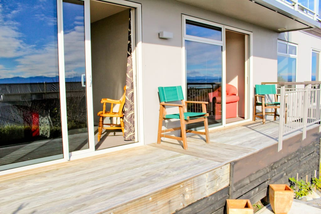 Sit on this deck & enjoy The Views of Tasman Bay & soak up the Beautiful warm sunny Days & Evenings