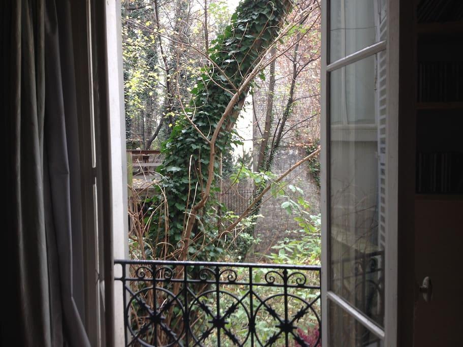 la vue du salon sur la cour