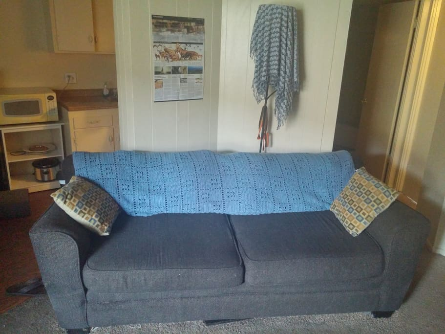 This is the most comfortable couch in the world. I often sleep on this couch when I am staying at the apartment, and I am 6 foot 4. this would be a great place for additional guests to sleep in as well. hint: take the back cushions off for even more room and you can even use them as giant pillows or leg rests.