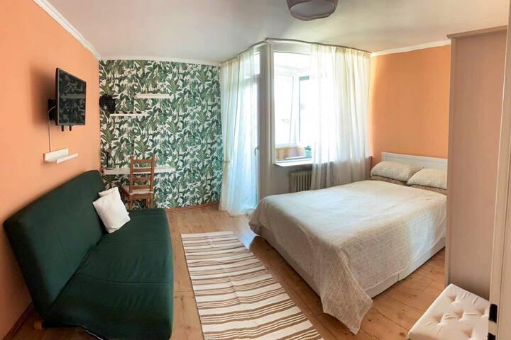 Cozy Bedroom + Winter Balcony in a modern area