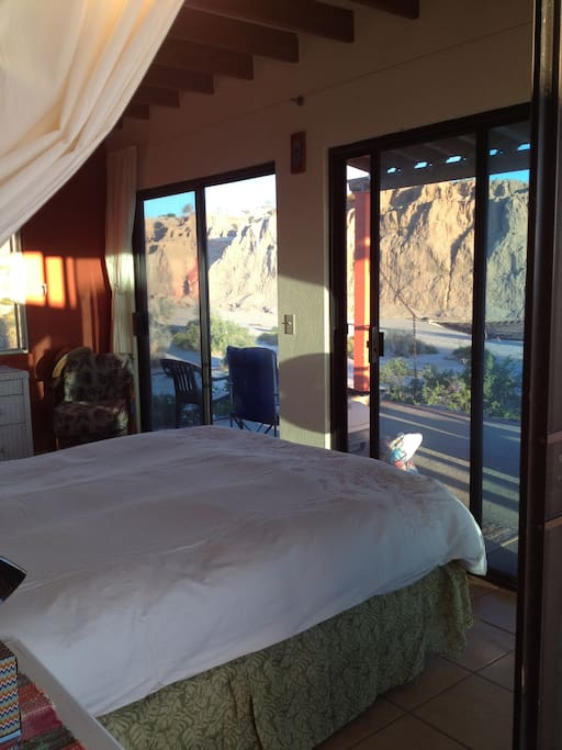 view from bedroom towards the cliffs